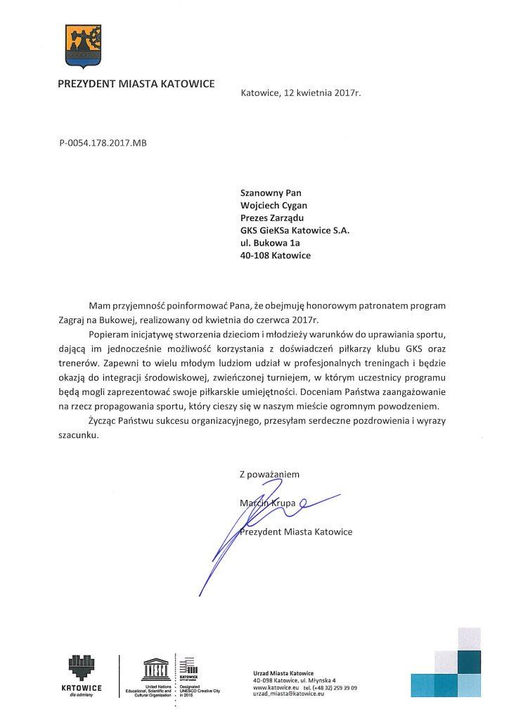 Honorowy Patronat Prezydenta Miasta Katowice